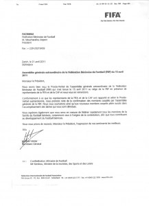 Fax FIFA confirmation AG du 15 avril 2011 a la FBF