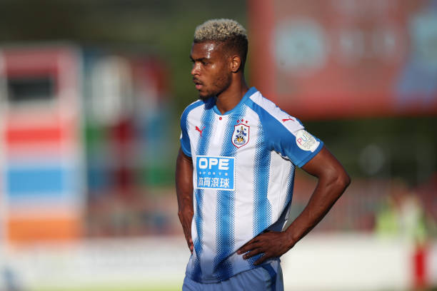 steve-mounie-of-huddersfield-town-during-the-preseason-friendly-match-picture-id813904322